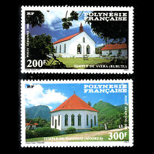 French Polynesia 1986 - Protestant Churches Architecture - Sc C222/3 MNH