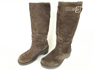 Crocs Cobbler High Knee Boots Women's Size 10 Brown Suede Pull Up Platform Shoes