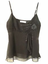 OXMO Black Evening Elegant Vest / Cami Top with Beads & Crystals Size S UK 6 / 8