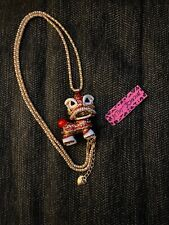 """Betsey Johnson Red """"Dancing"""" Chinese Lion with Rhinestones Long Chain Necklace"""