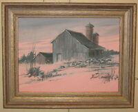 Vintage HOWARD CONNOLLY 'Pink Sky SUNSET' Rhode Island FARM Barn Oil PAINTING