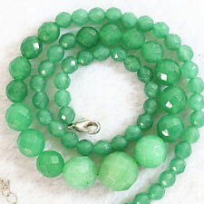 "Green 6-14mm Faceted Natural Emerald Round Beads Necklace 18""AAA"