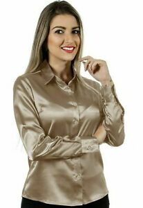 Women Satin Casual Office Shirt Button Down Solid Collar Blouse Top - Champagne