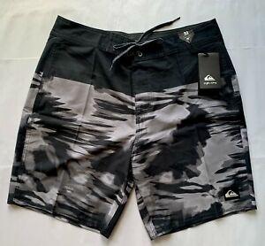 Quiksilver Night Marcher Board Shorts Swim Trunks Black/Gray *New* (size 32)