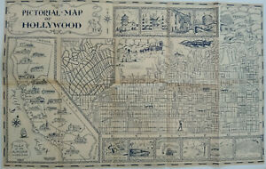 Original rare 1935 pictorial map of Hollywood, CA Missions, Hollywoodland sign