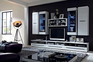 LIVING ROOM SET WHITE HIGH GLOSS BLACK GLASS FLOATING CABINET DISPLAY UNIT SHELF