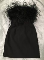 Nordstrom Bardot Ostrich Feather Trim Mini-Bustier Cocktail Dress Size XS LBD