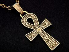 Antique Bronze Ankh Cross Pendant Charm Necklace Chain