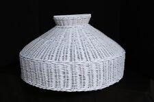 """White Wicker Round Lamp Shade 18.5"""" Diameter NEW"""