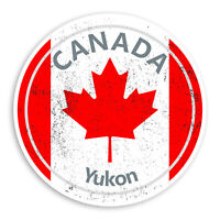2 x 10cm Yukon Vinyl Stickers - Travel Canada Flag Sticker Laptop Luggage #20191