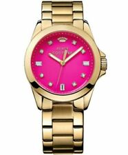 Juicy Couture Women's 1901108 Stella Hot Pink Dial Gold-Tone Watch