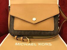 NWT MICHAEL KORS GREENWICH PVC SMALL FLAP CROSSBODY BAG-COLOR POCKET BROWN/ACORN