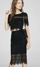 NWT Womens EXPRESS Black Lace Crop Top Sz S And Matching High Waisted Skirt Sz 2