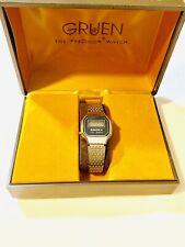 Vintage Gruen Women's Quartz Digital Silver tone Wrist Watch N.O.S 1970s (20298M