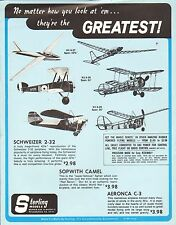 VINTAGE AD SHEET #1900 - STERLING MODEL AIRPLANES - SCHWEIZER - AERONCA C-3
