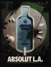 1989 ABSOLUT L.A. Vodka - LOS ANGELES Swimming Pool Bottle - VINTAGE AD