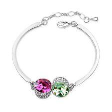 18K White Gold Plated Made With Swarovski Crystal Round Purple & Olive Bracelet