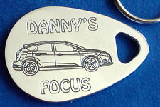 Personalised FORD FOCUS keyring new shape ANY NAME engraved polished gift