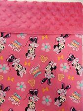 Baby Blanket Minnie Mouse Pink Moses Basket Bassinet Pram Capsule Minkee Back