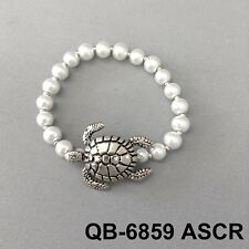 Elegant Simple Ivory Pearl Bead Silver Tone Sea Animal Turtle Stretch Bracelet