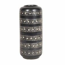 Aztec Design Ceramic Black Vase with Cream Pattern Cylinder Shape 27cm