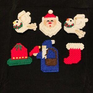 Christmas Pins Lot #2 - Bell Dove Stocking Santa Plastic Canvas