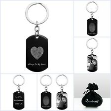 Stainless Steel Personalized Fingerprint Text Engraving Custom Dog Tag Keychain