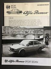 1978 Alfa Romeo Sport Sedan Press Release & Photo RARE!! Awesome L@@K