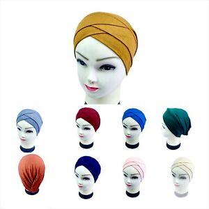 Women Muslim Under Hat Frontal Cross Bonnet Hijab Turban Chemo Cap Head Scarf