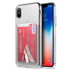 For Apple iphone X Transparent Card Slot Pocket Slim Soft Rubber TPU Cover Case