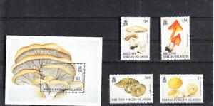 BRITISH VIRGIN ISLANDS 1992 MUSHROOMS SET  MNH VF