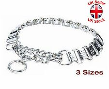 "Strong Chrome Choke Chain Dog Metal Plate Collar ""Sun Plates"" 3 SIZES"