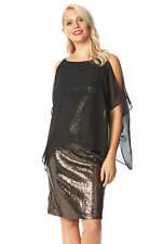 Roman Originals Women Chiffon Cold Shoulder Sequin Dress