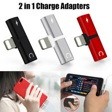 2 in1 Dual Lightning Adapter Charging Splitter Audio Cable For iPhone 5 6 7 8 X