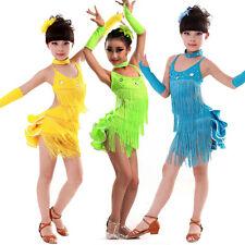 24 Pieces Girls Tassels Latin dancing Dress Kids Ballroom Dancewear Costumes