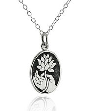Buddha Hand with Lotus Necklace - 925 Sterling Silver Pendant Flower Symbol NEW