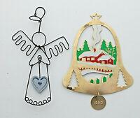 lot of 2 Christmas ornament G Duchin 1990 brass bell & wire angel