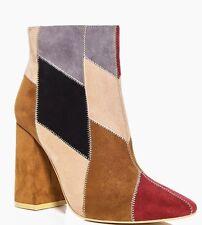 Women's patch work faux suede block heel boot Tan Boohoo size 6 NEW