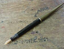 old estate Vintage Black GT PARKER DUOFOLD Gold Nib Fountain Desk Pen USA Made