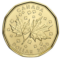 "🇨🇦 Ô Canada $1 Dollar Coin Loonie! Maple Leaf Celebrating two ""0"" in 2020 UNC"