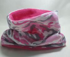 Fatto a mano basso di lenza Fromlowitz cappuccio sciarpa tubolare in pile Tessuto Bambini Rosa Camouflage