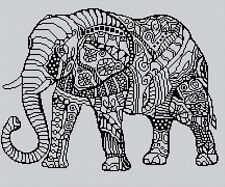 Blackwork Elephant #6 Cross Stitch Chart