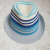 Calvin Klein Women's Fedora Woven Blue Tan Striped Summer Beach Pool Hat EUC