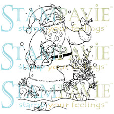 Stampavie SANTA WITH LAMB AND REINDEER Tina Wenke Clear Stamp Holiday