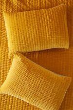Anthropologie Kantha Gray Stitched Standard Pillow Sham Velvet Yellow Ochre NEW