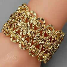 18K Gold Plated Topaz Crystal Rhinestone Wedding Bangle Cuff Stretch Bracelet 17
