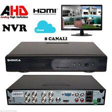 DVR NVR AHD REGISTRATORE IBRIDO 8 CH CANALI CLOUD PTZ P2P HDMI VIDEOSORVEGLIANZA