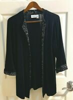 *Chico's Travelers* Black Long Sleeve Open Front  Cardigan Size 2 Paisley Trim