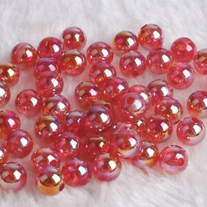 100PCS Top Quality Czech Glass Pearl Acrylic Round Beads Jewelry 6mm 8mm 10mm