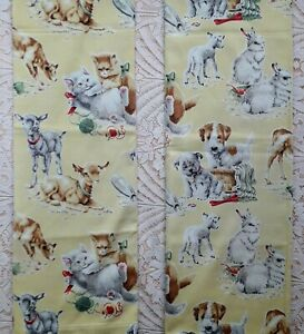 PAIR OF COTTON NURSERY BABY ROOM CURTAINS WITH BABY ANIMAL PRINT PUPS KITTENS
